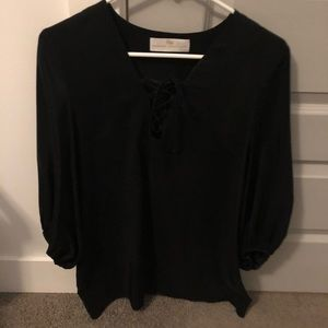 Amand Uprichards silk lace up top - size med